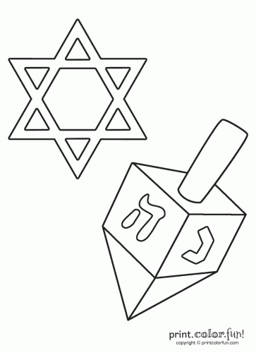 Star of david and. Dreidel clipart blank