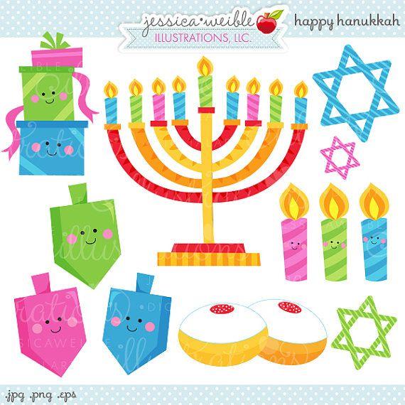 Dreidel clipart cute. Happy hanukkah digital commercial
