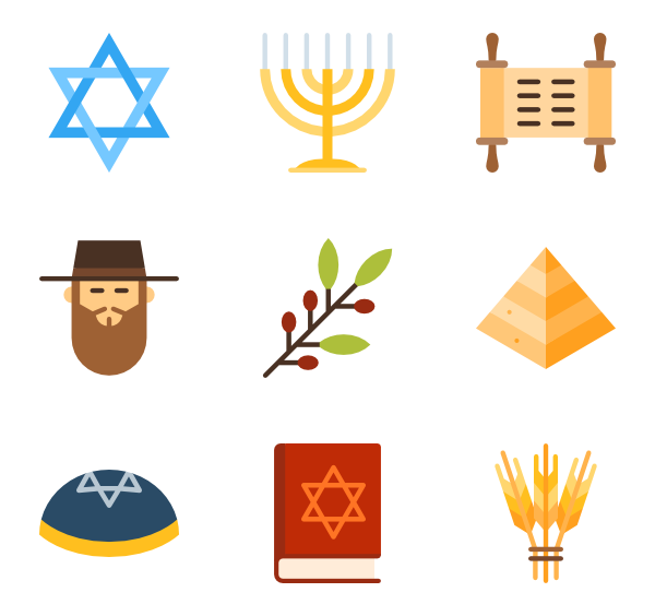 Jewish icons free vector. Dreidel clipart judaism
