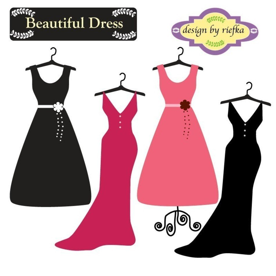 Dress clipart beautiful dress. By riefka on etsy