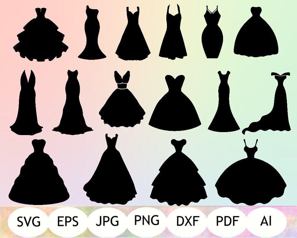 Dresses svg silhouette wedding. Dress clipart bridesmaid dress