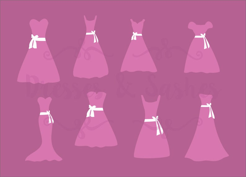 Dress clipart bridesmaid dress.  dxf file silhouettes