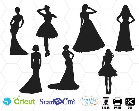 Dresses svg silhouette wedding. Dress clipart designer dress