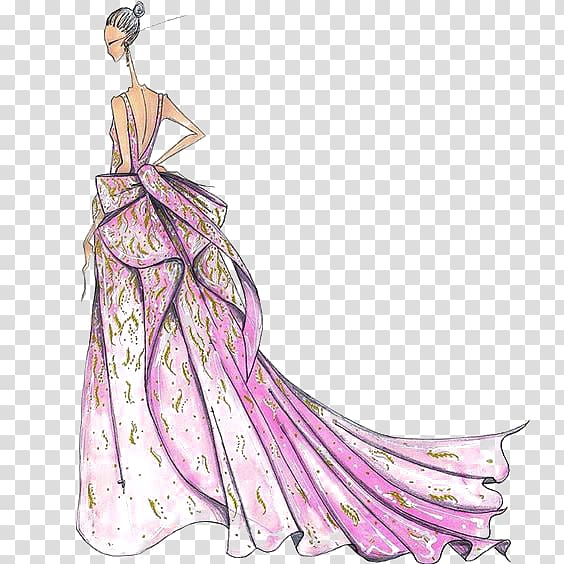 Dress clipart designer dress. Woman wearing backless gown