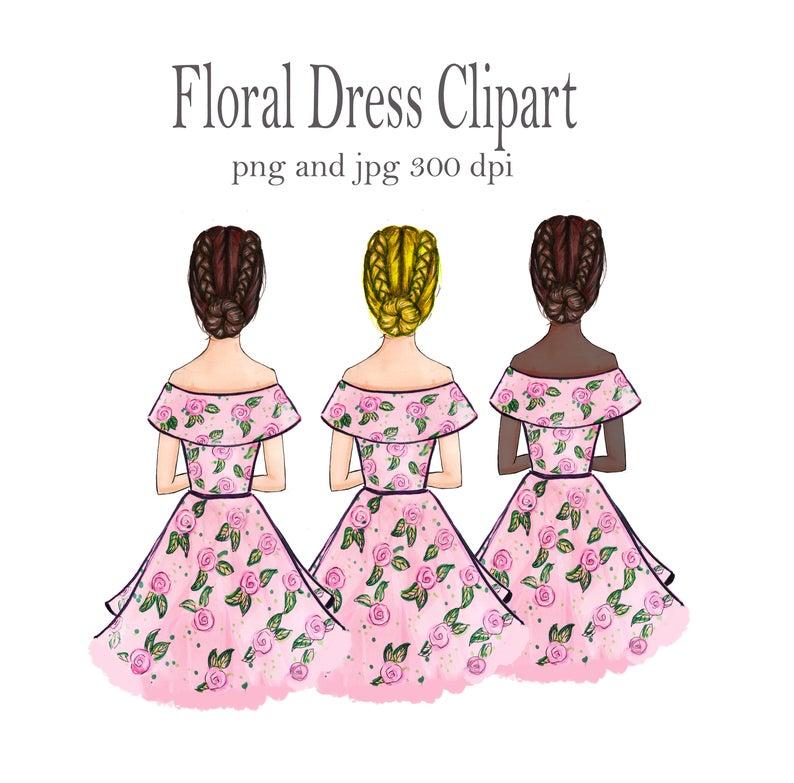 For planner logo fashion. Dress clipart floral dress