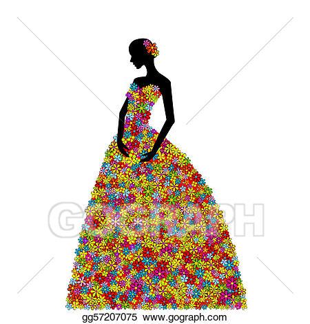 Dress clipart floral dress. Stock illustration woman wearing