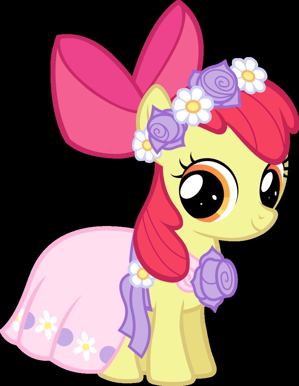 Dress clipart flower girl dress. Applebloom my little pony