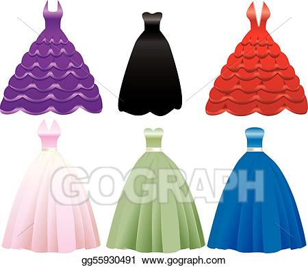 Vector formal icons . Dress clipart gown