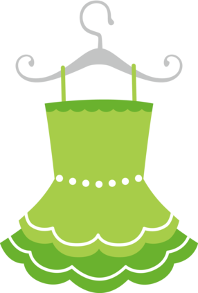 Green clip art girls. Dress clipart mini dress