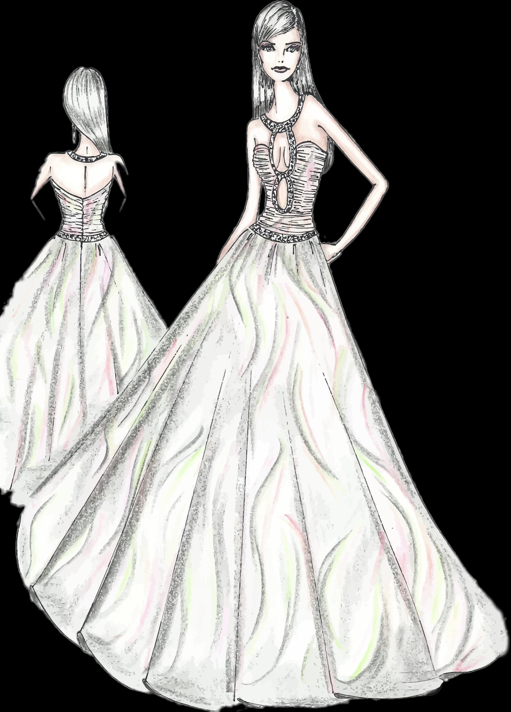 Woman sketch big image. Fashion clipart dress