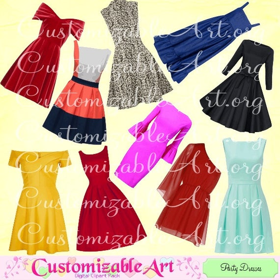 Dress clipart party dress. Pretty set images womens