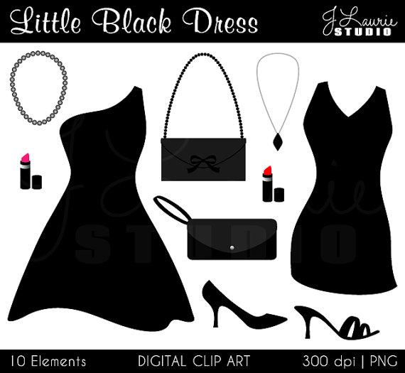 Little black digital party. Fashion clipart cocktail dress