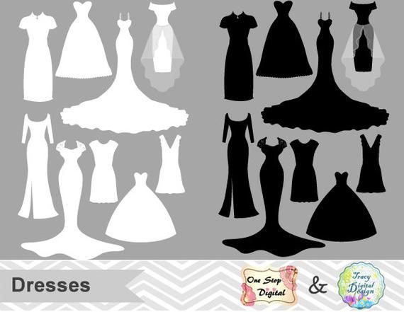 Dress clipart silhouette. Digital wedding clip art