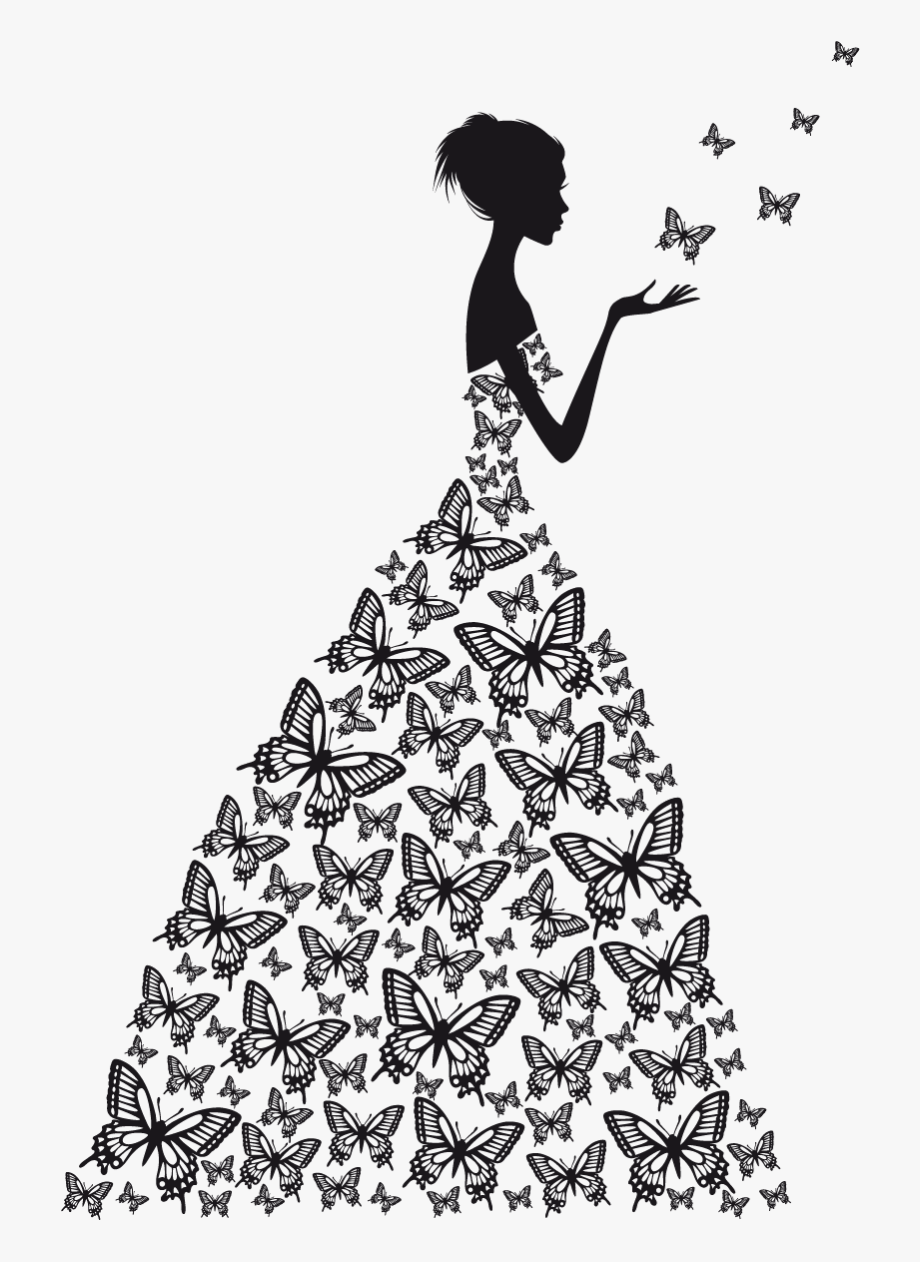 Dress clipart silhouette. Wall decal wedding png