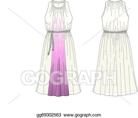 Vector stock womans sleeveless. Dress clipart silk dress