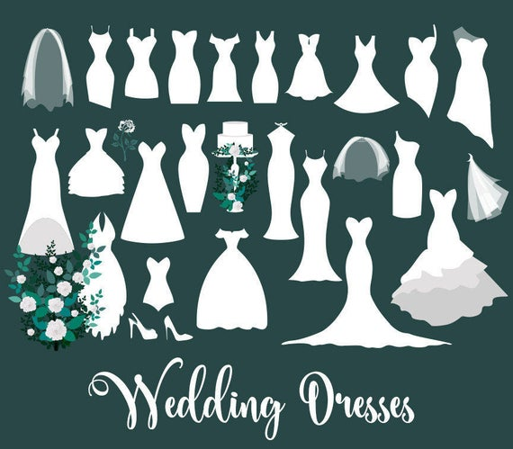 Dress clipart vector. Wedding dresses clip art