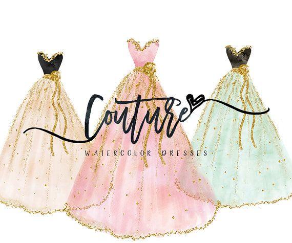Fashion clipart fashion marketing. Watercolor dresses couture dress