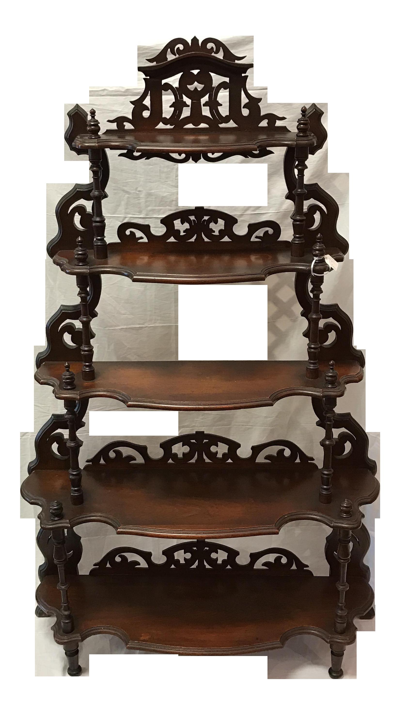Antique walnut etagere display. Furniture clipart bookshelf