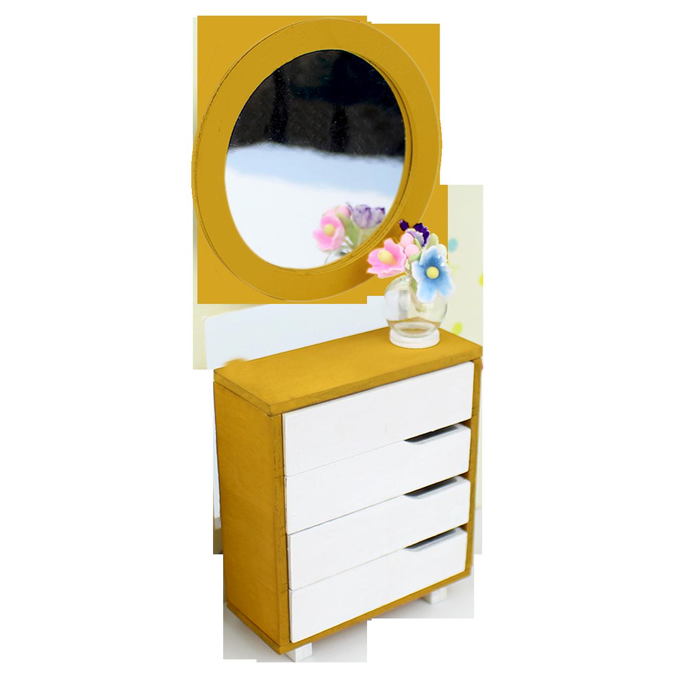Dresser clipart blue yellow. Miniature kit pre sen