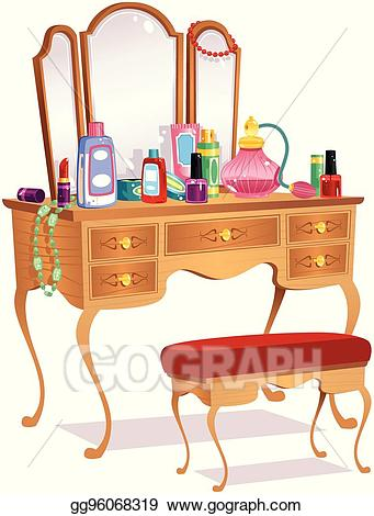 Vector stock and mirrors. Furniture clipart vanity table