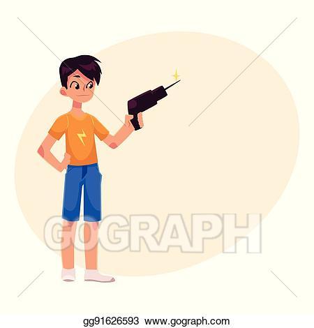 Drill clipart boy. Vector stock full length