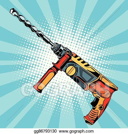 Drill clipart building tool. Vector illustration electric hammer