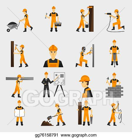 Vector stock construction icons. Drill clipart cement worker