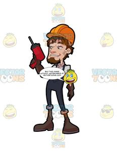 A male construction holding. Drill clipart cement worker