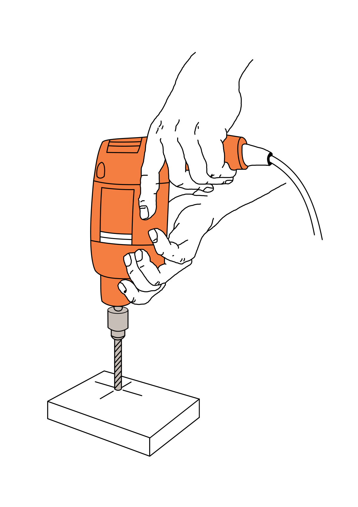 Anatomy of a hand. Drill clipart electrical tool