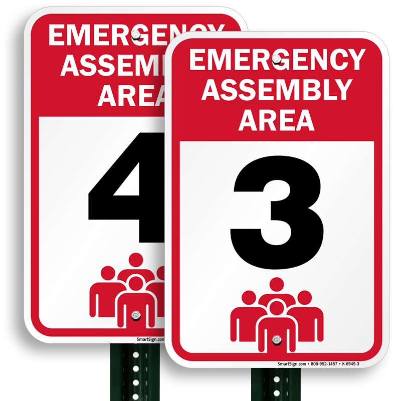 Assembly area sign fire. Emergency clipart emergency drill