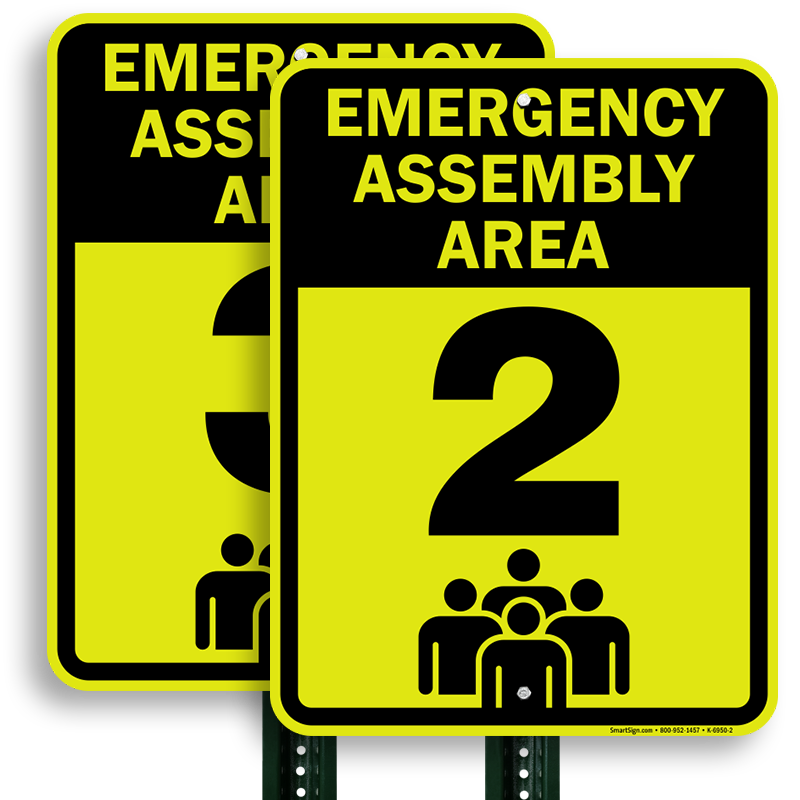 Emergency clipart emergency drill. Assembly area sign fire