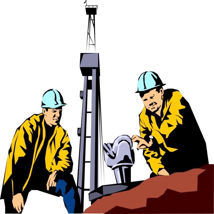 Workers with drill bit. Oil clipart oil extraction