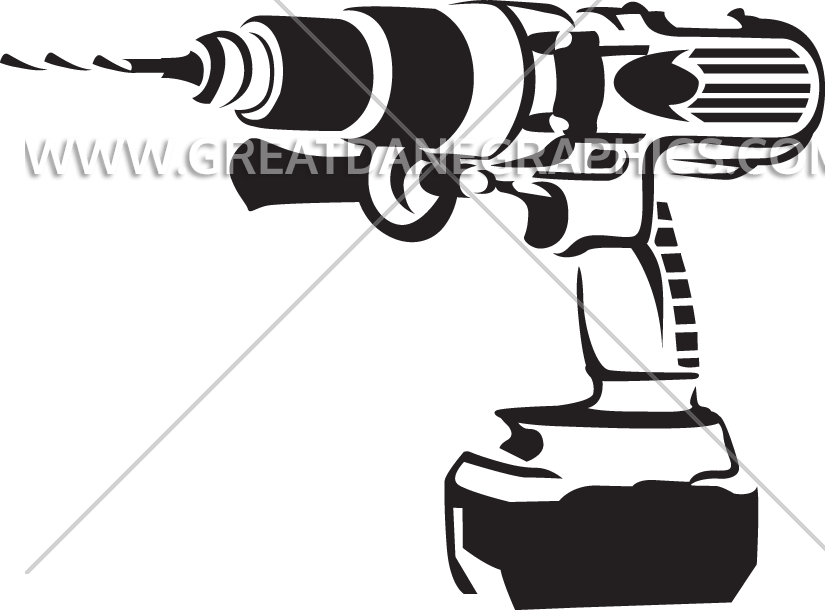 Drill clipart working. Outline production ready artwork