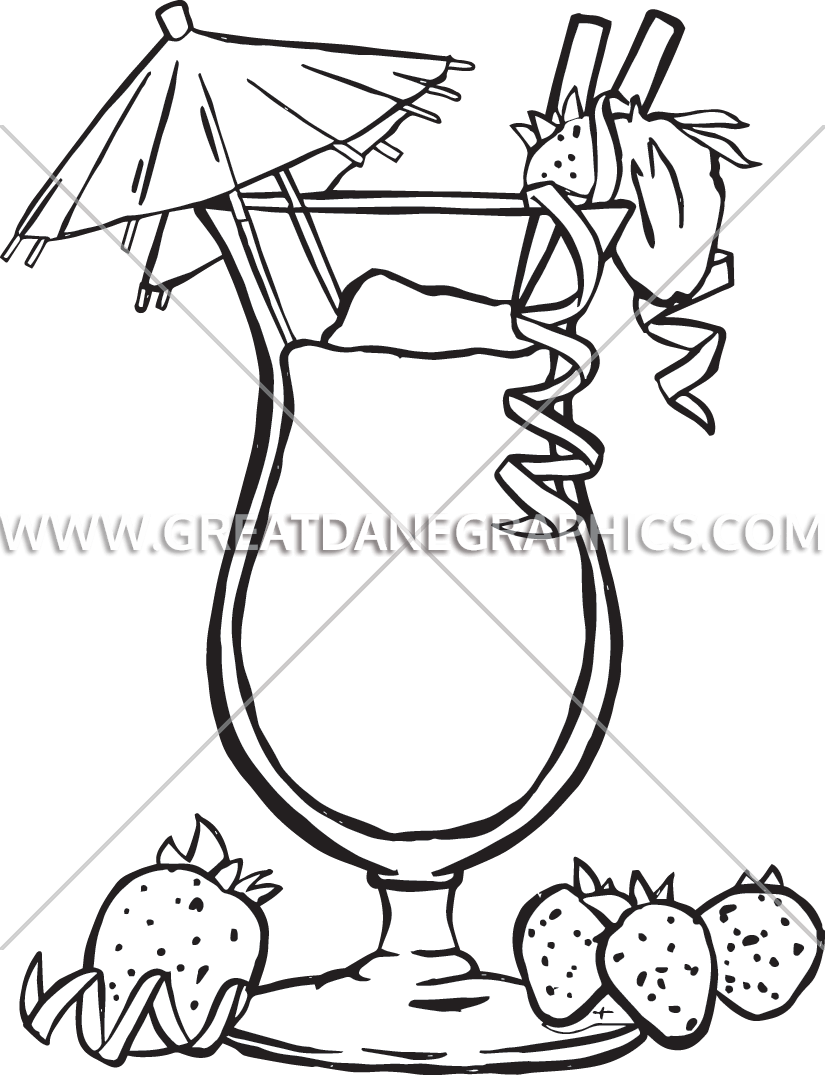 Drink production ready artwork. Drinks clipart tropical