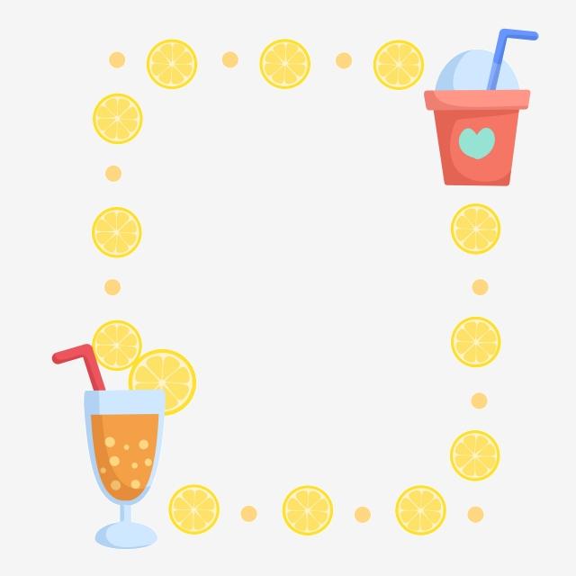 Lemon drink illustration orange. Drinks clipart border