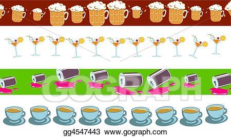 Stock illustration drawing . Drinks clipart border