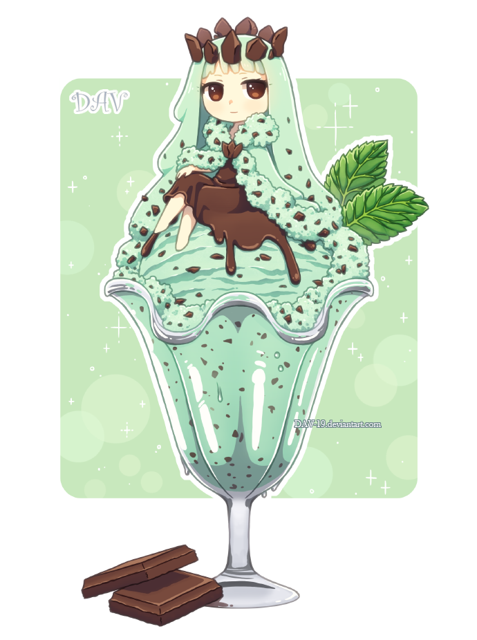 Drinks clipart kawaii. Mint chocolate chip ice