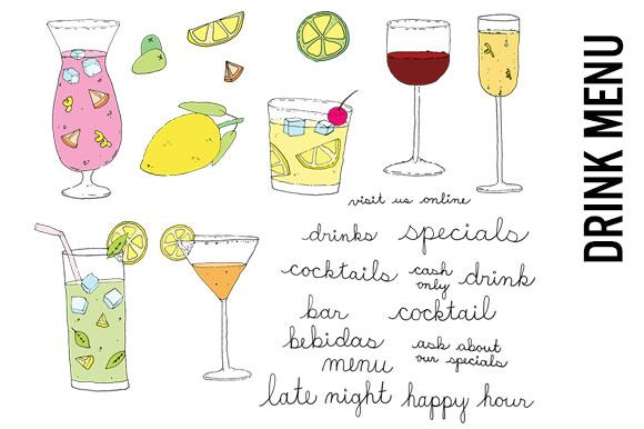 Drink clipart drink menu. Tropical doodles by pepper