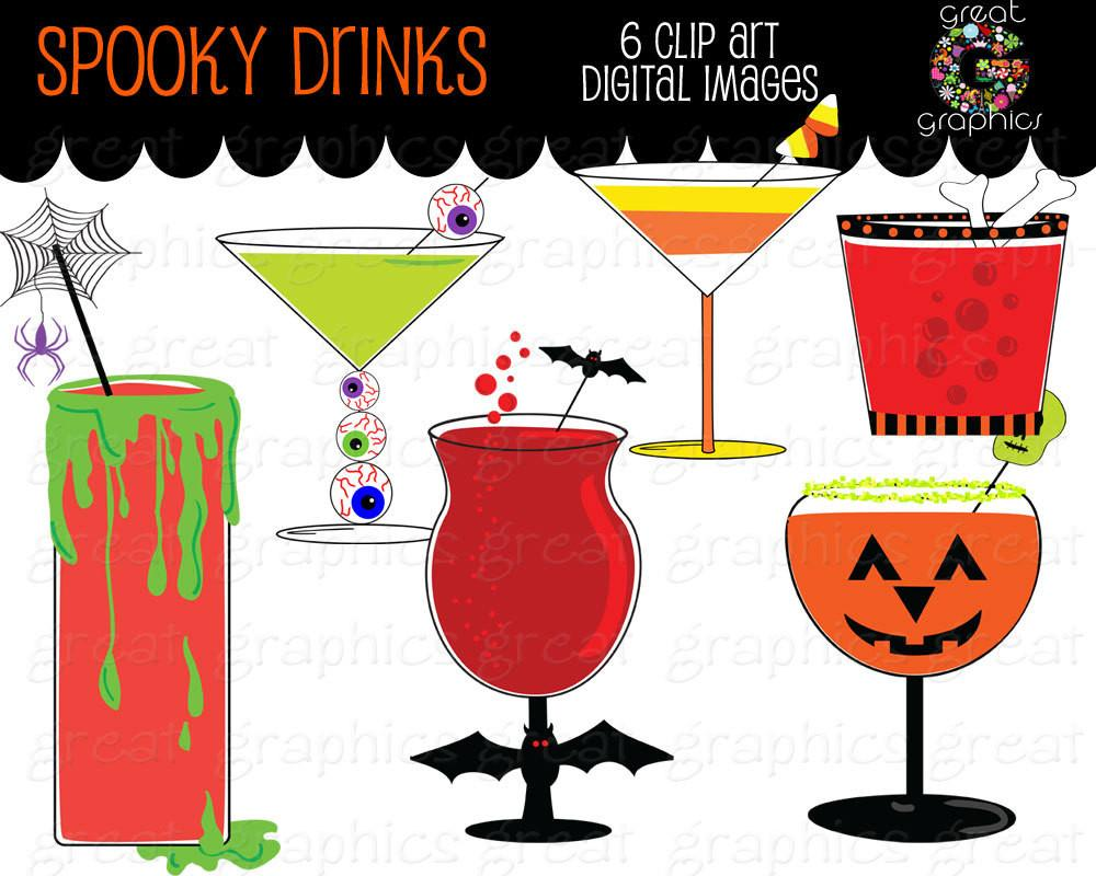 Party printable cocktail clip. Halloween clipart drink