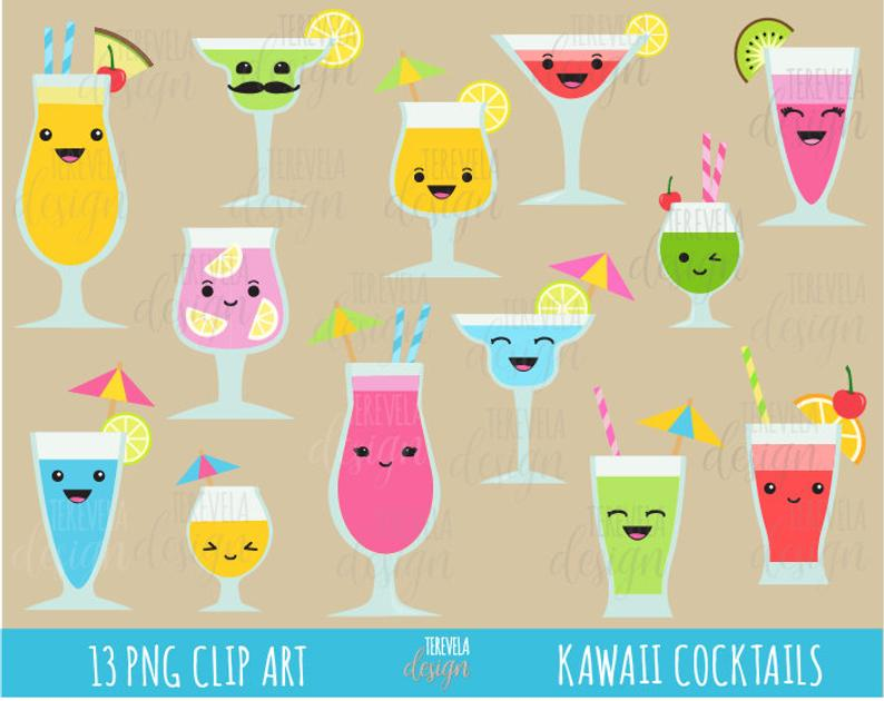 Cute cocktails drinks commercial. Drink clipart kawaii