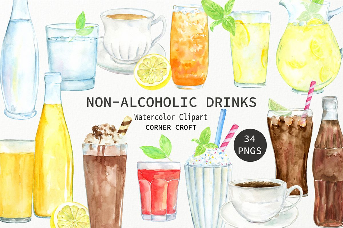 Drink clipart non alcoholic beverage. Watercolor drinks