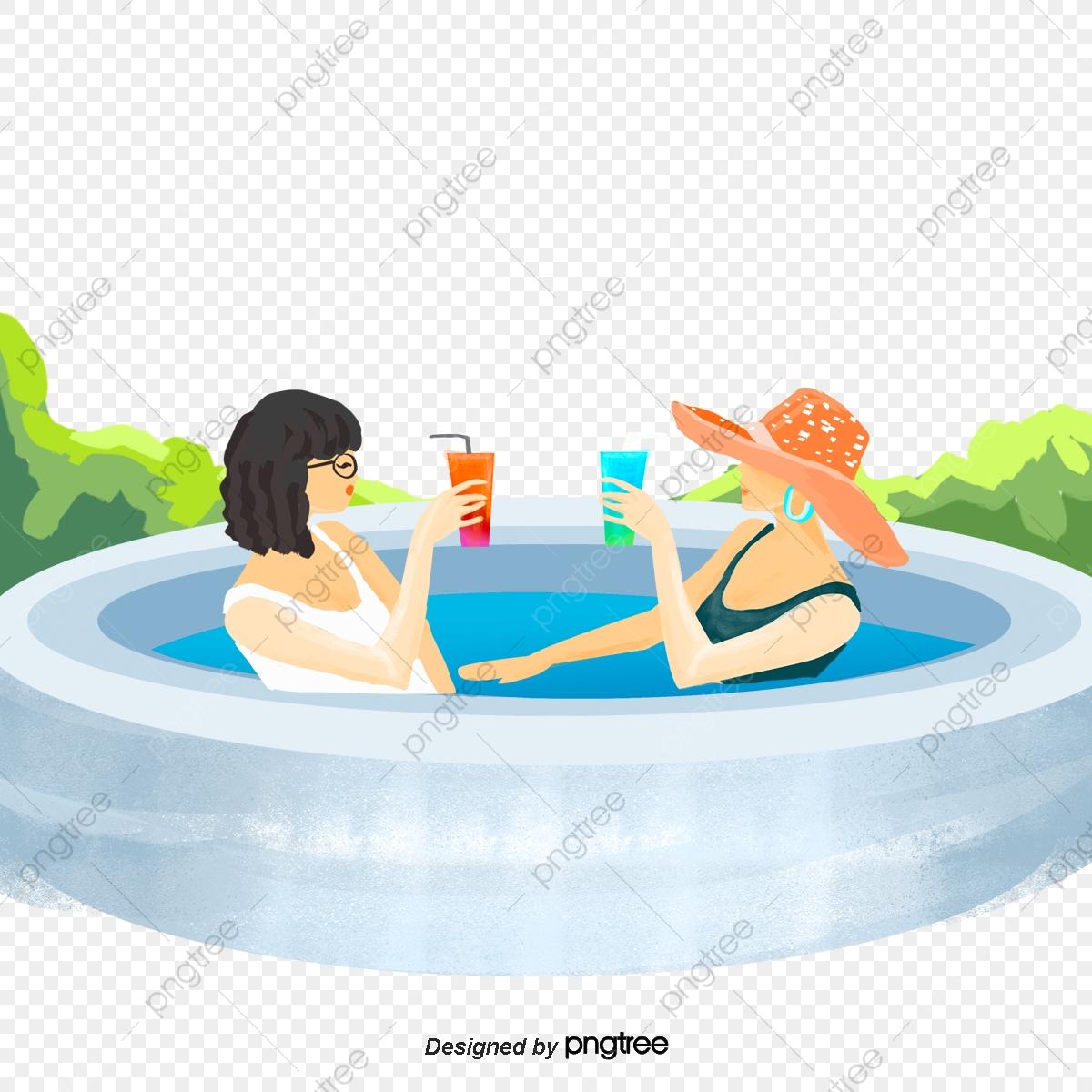 Drinks clipart pool. Cartoon female swimming straw