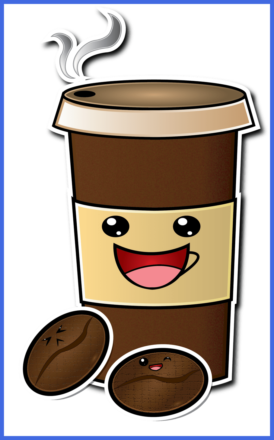 Inspiring cute cartoon cup. Words clipart coffee