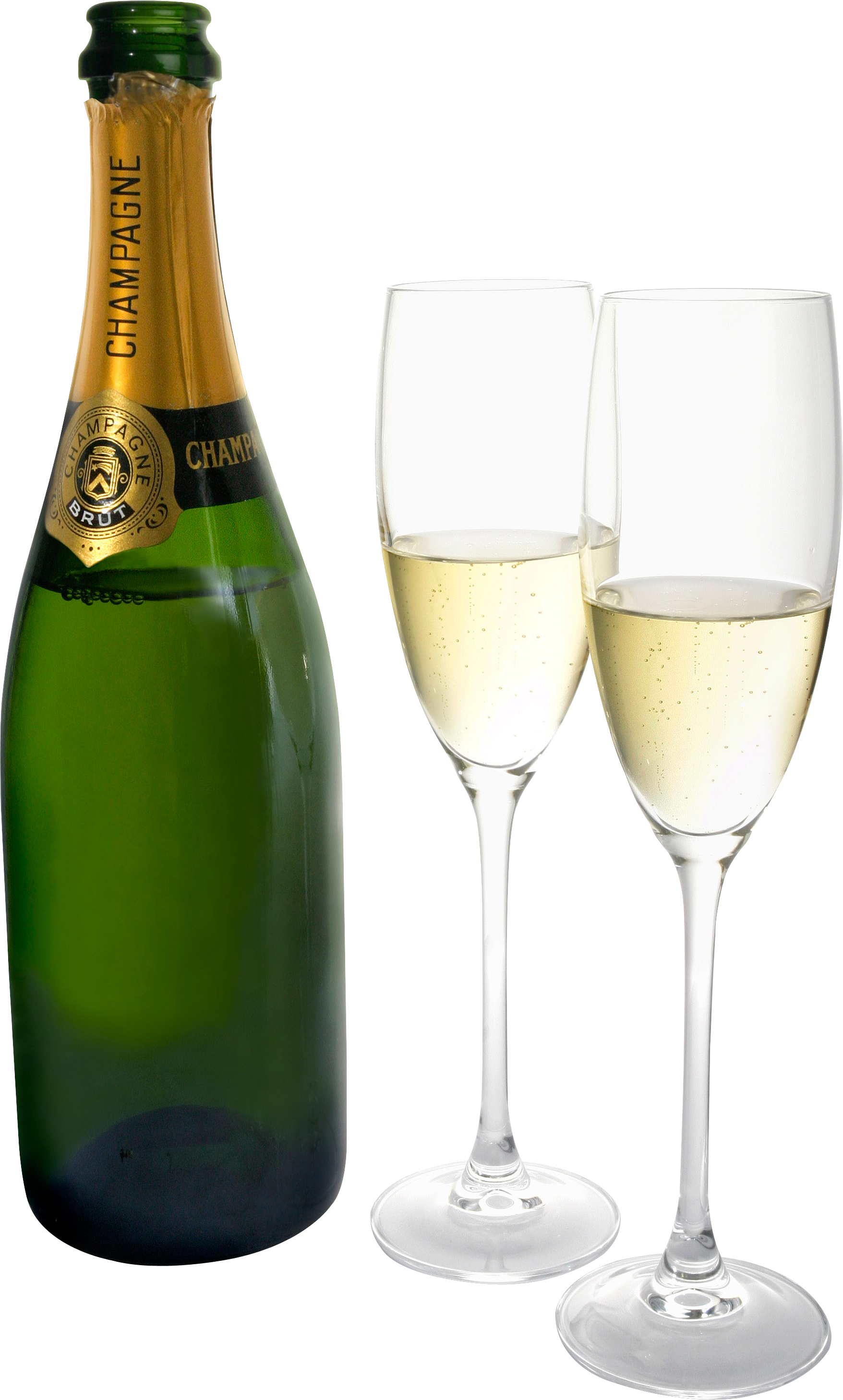 Champagne bottle two isolated. Flutes clipart champaigne