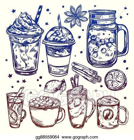 Eps vector hot drinks. Drink clipart winter