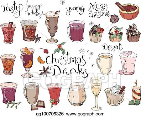 Winter clipart drink. Vector set of different