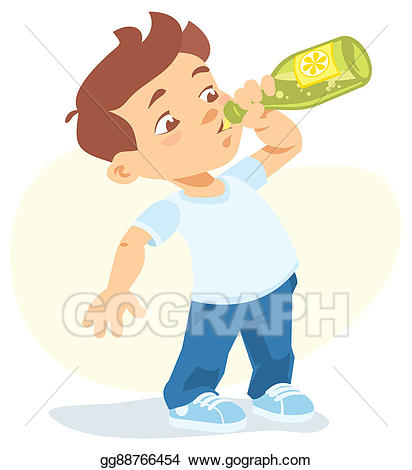 Drink clipart boy. Stock illustration drinking soft