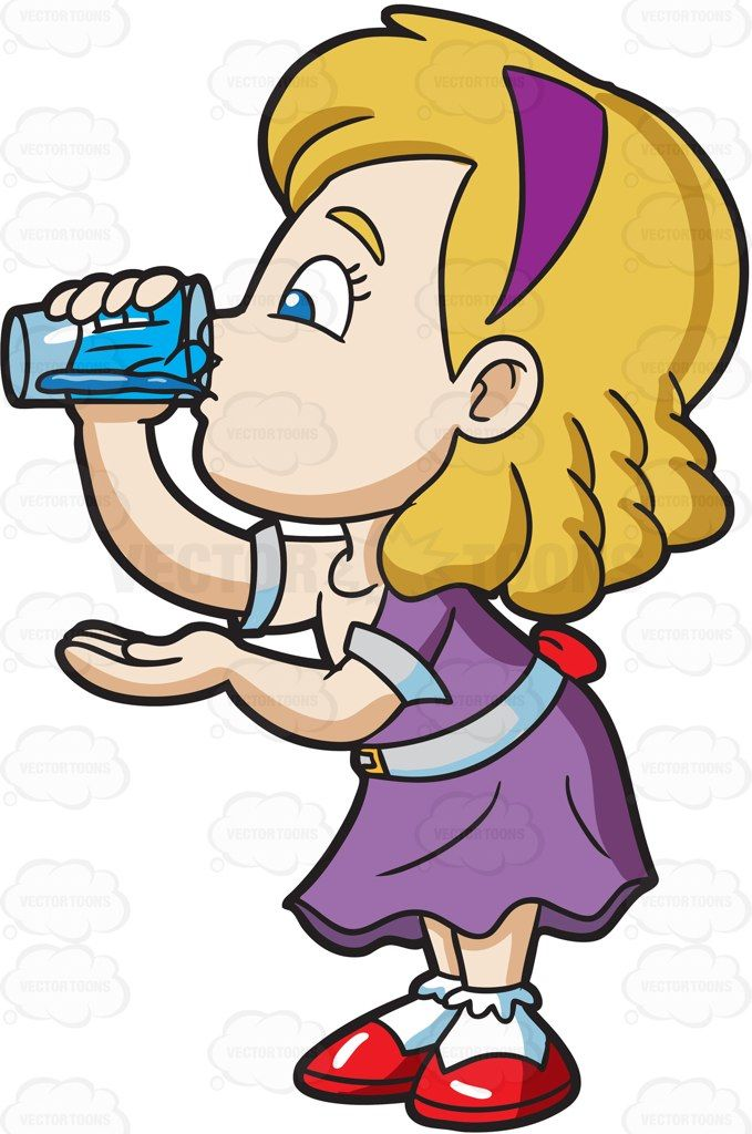 Drinking clipart. A girl carefully drinks