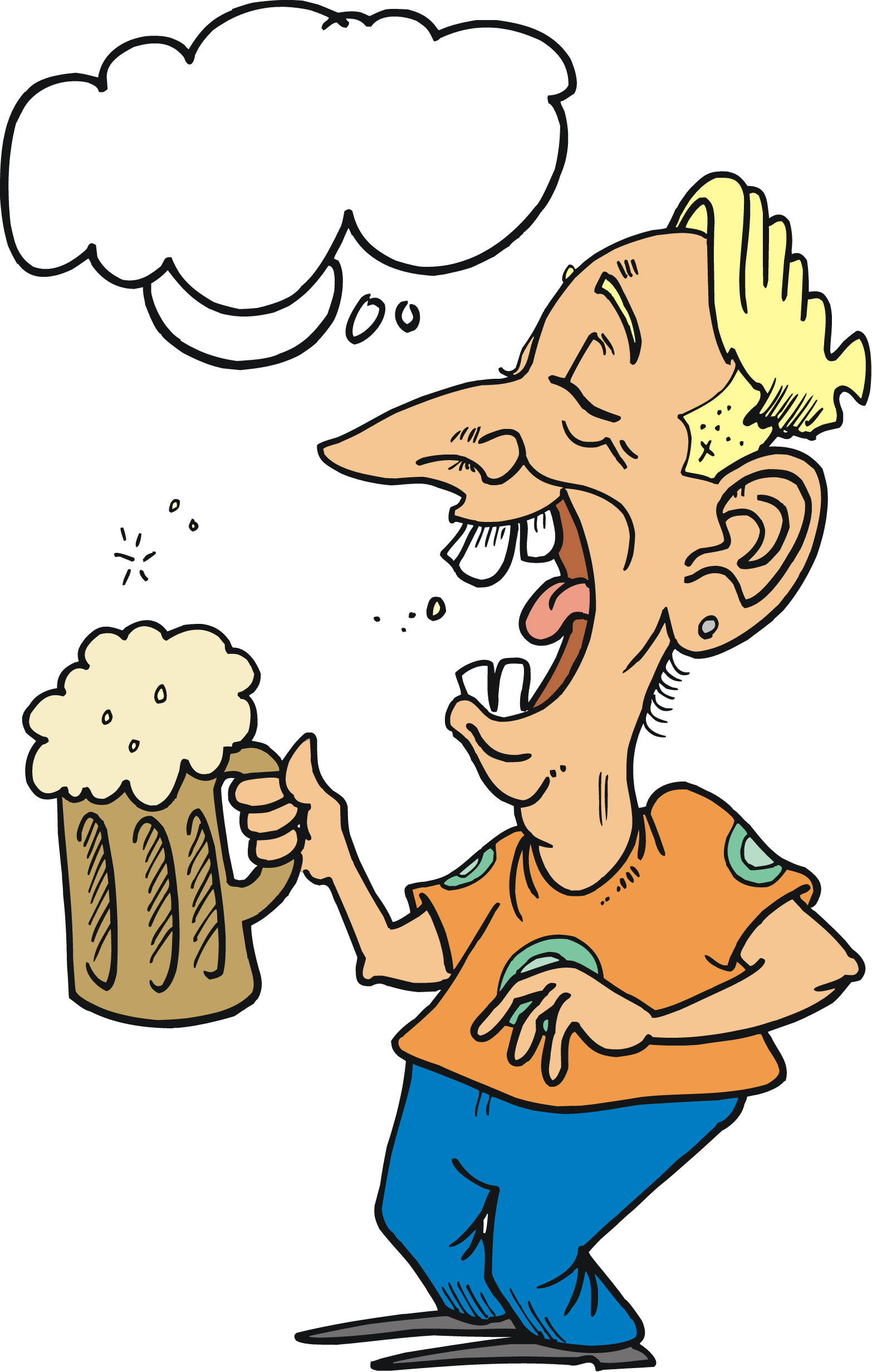 Man beer in sun. Drinking clipart animated