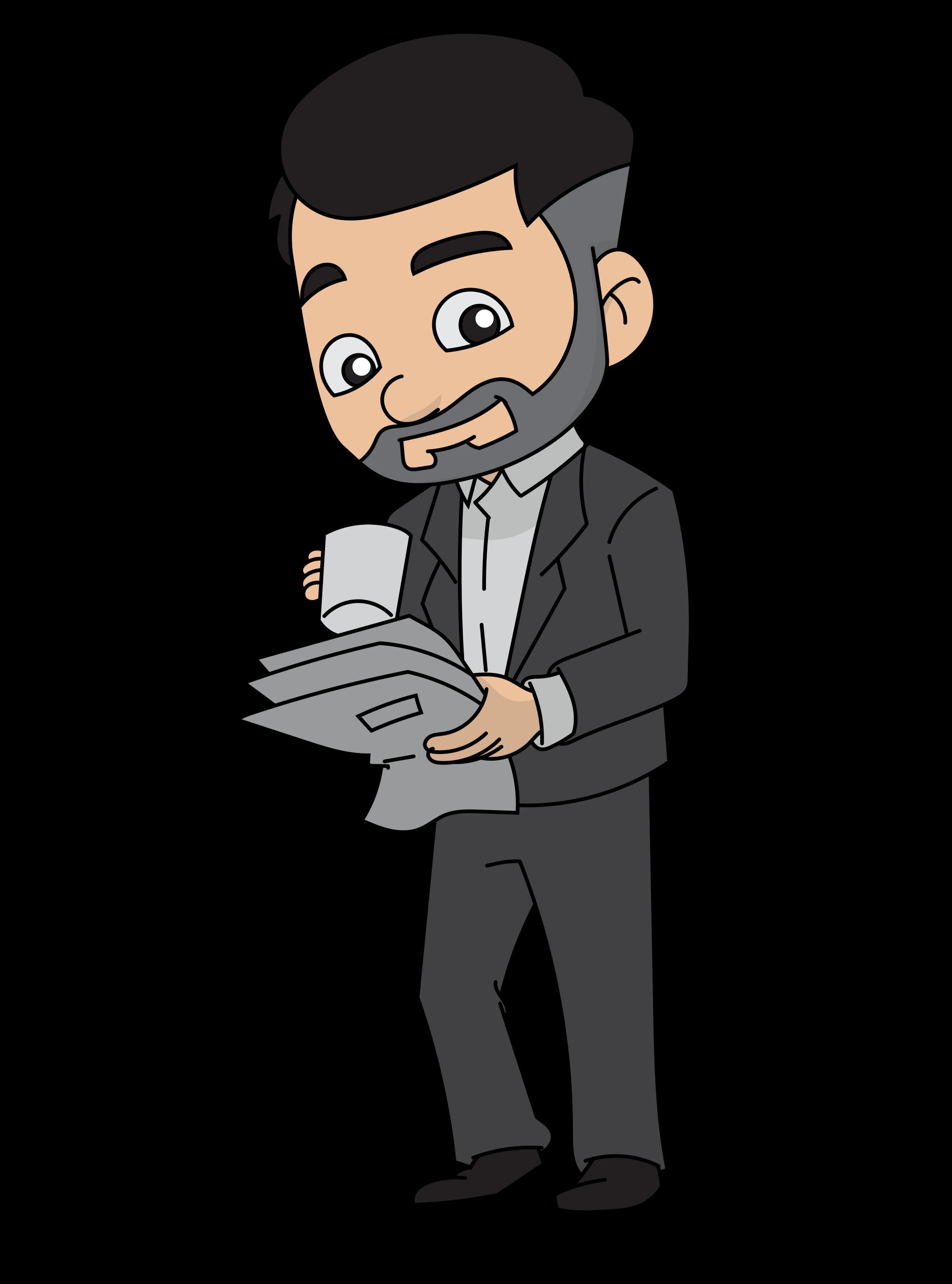 File cartoon businessman coffee. Drinking clipart business man